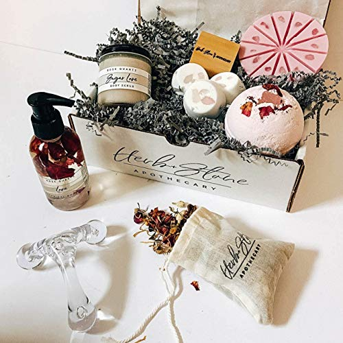 Herb + Stone Apothecary- Spa Kit Subscription Box - Organic, Vegan, Crystal Infused - Self Care Products - Handcrafted in the USA