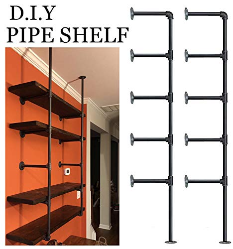 FOF Industrial Retro Wall Mount Iron Pipe Shelf,DIY Open Bookshelf,Hung Bracket,Home Improvement Kitchen Shelves,Tool Utility Shelves, Office Shelves, Bookshelves and bookcases (2Pcs)