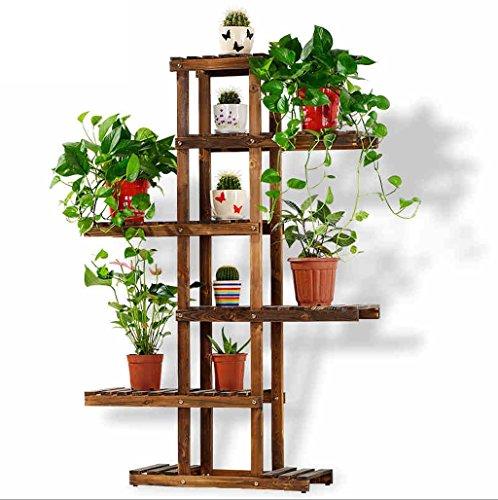 Rack de jardin intérieur, étagère à fleurs en bois de loisirs, étagère à fleurs à plusieurs étages130 * 62cm (Couleur : Marron)