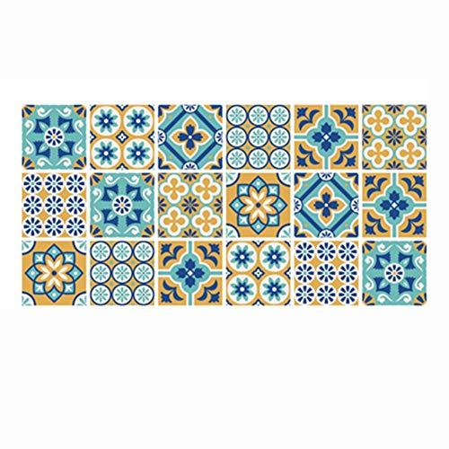 Byrhgood Pegatinas de Azulejos Retro árabe para la Cocina Baño PVC Autoadhesivo Pegatinas de la Pared Sala de Estar DIY Decoración Wallpaper Fabricación Impermeable calcomanía (Color : HZ010)