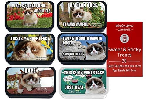 Grumpy Cat Meme Breath Mints | Christmas Candy Stocking Stuffer | (1) each: What's So Beautiful, Had Fun Once, Happy Face, South Dakota, Nope, Poker Face - Plus Recipe Booklet Bundle…