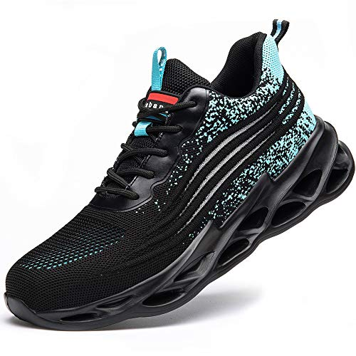 [マンディー] 安全靴 あんぜん靴 作業靴 スニーカー レディース メンズ 鋼先芯(JIS H級相当) おしゃれ 軽量 通気 ワークマン シューズ 滑り止め 耐摩耗 セーフティーシューズ 798/ブルー/42