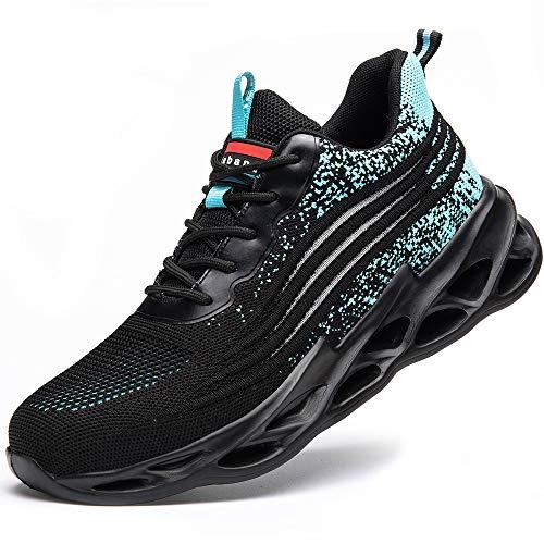 [マンディー] 安全靴 あんぜん靴 作業靴 スニーカー レディース メンズ 鋼先芯(JIS H級相当) おしゃれ 軽量 通気 ワークマン シューズ 滑り止め 耐摩耗 セーフティーシューズ 798/ブルー/45