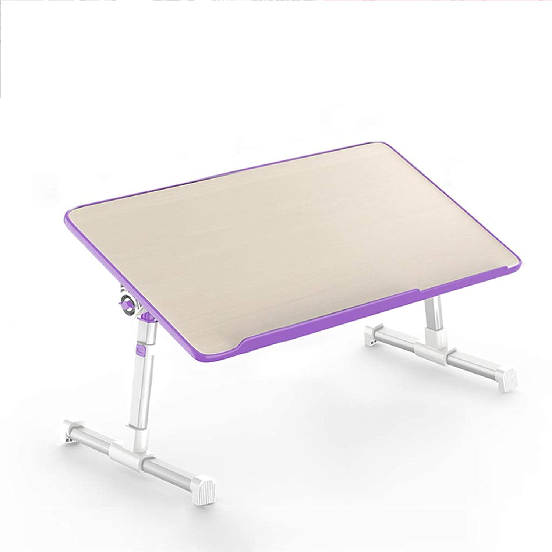 JINLINE Portable Folding Table Laptop Desk Bed Desk Student Lazy Small Table Multi color Folding Table (color   Purple, Size   L)