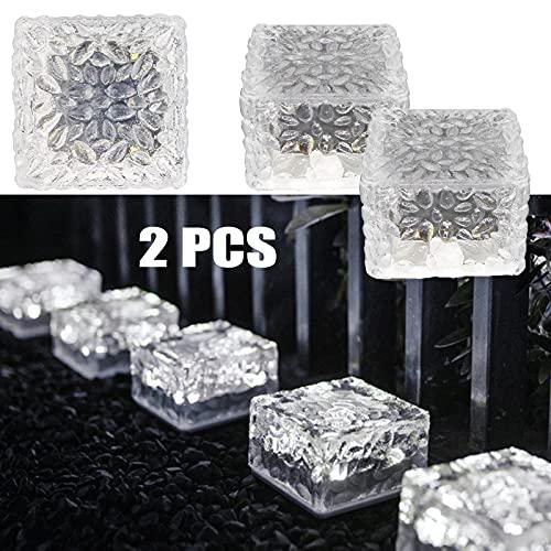 MEDOYOH 2 unidades de luz solar de ladrillo de cristal, 4 LED de luz blanca fría, focos de tierra empotrables, encendido/apagado automáticos, sensor de luz para decoración de caminos, jardines