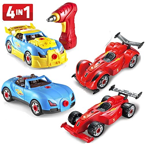 Prextex 4 in 1 Build Your Own Racer Car Set STEM Toy With Real Working Drill And Screws 53 Piece Take-A-Part Toy for boys And Girls with Lights and Sounds
