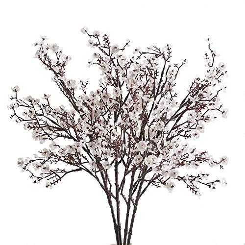 HUAESIN 4Pcs FloresArtificiales Blancas Pequeñas GypsophilaArtificial Orquideas Baby Breath Plantas Artificiales Exterior e Interior Decoración para Boda Manualidad CentroFloresArtificiales
