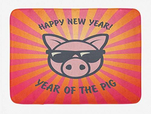 Alfombra de baño de año nuevo chino, cerdo humorístico con gafas de sol con diseño de rayos de sol retro, alfombra de decoración de baño de felpa con respaldo antideslizante, rosa, naranja, morado osc
