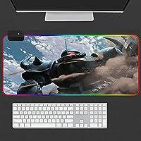 ゲーミングマウスパッド ガンダムアニメ大 RGB マウスパッドゲーミングコンピュータキーボードマット LED バックライトゲーマーデスクパッド DOTA 23.6 × 11.8 インチ