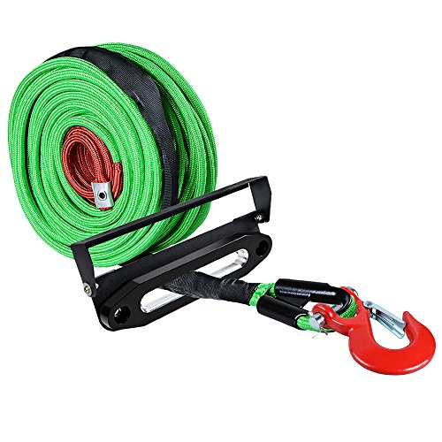 Best Prices! Astra Depot 95ft x 3/8 inch Green Synthetic Winch Rope Cable 22000LBs w/All Rock Guard ...