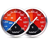GALAFIRE BBQ Thermometer Gauge for Charcoal Grill Pit, 2 Pack 3 3/16 inch Large Dial Smoker Temperature Gauge