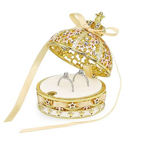 Caja De Joyería De La Corona con La Cinta del Arco Decora Crystal Metal Jewelry Organizer Box Anillo Collar De La Exhibición De (Color : Put 1 Pair Rings D)