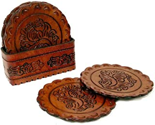 hand tooled leather coasters