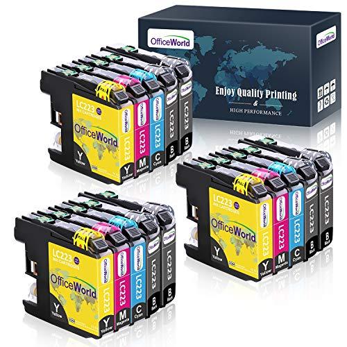 OfficeWorld LC 223 Compatibile per Cartucce Brother LC223 per Brother DCP-J4120DW DCP-J562DW MFC-J5320DW MFC-J4420DW MFC-J4620DW MFC-J5620DW MFC-J5720DW MFC-J480DW (6 Nero,3 Ciano,3 Magenta,3 Giallo)