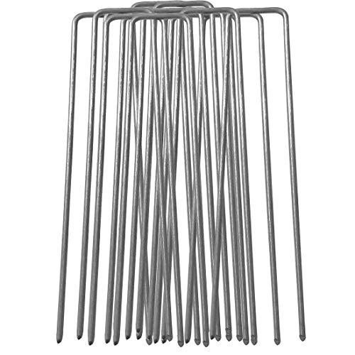 100 piquets de fixation en acier galvanisé 150mm longue, 25mm large, Diamètre 2,9 mm