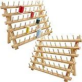 New brothread 2x60 bobine di legno porta fili / cremagliera per filo con ganci per appendere per Ricamo, Quilting, Cucito, Treccia Capelli
