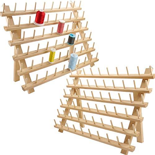 New brothread 2x60 Carretes Organizador de hilo de madera / estante de hilo con ganchos para colgar para bordar, acolchar y coser hilos