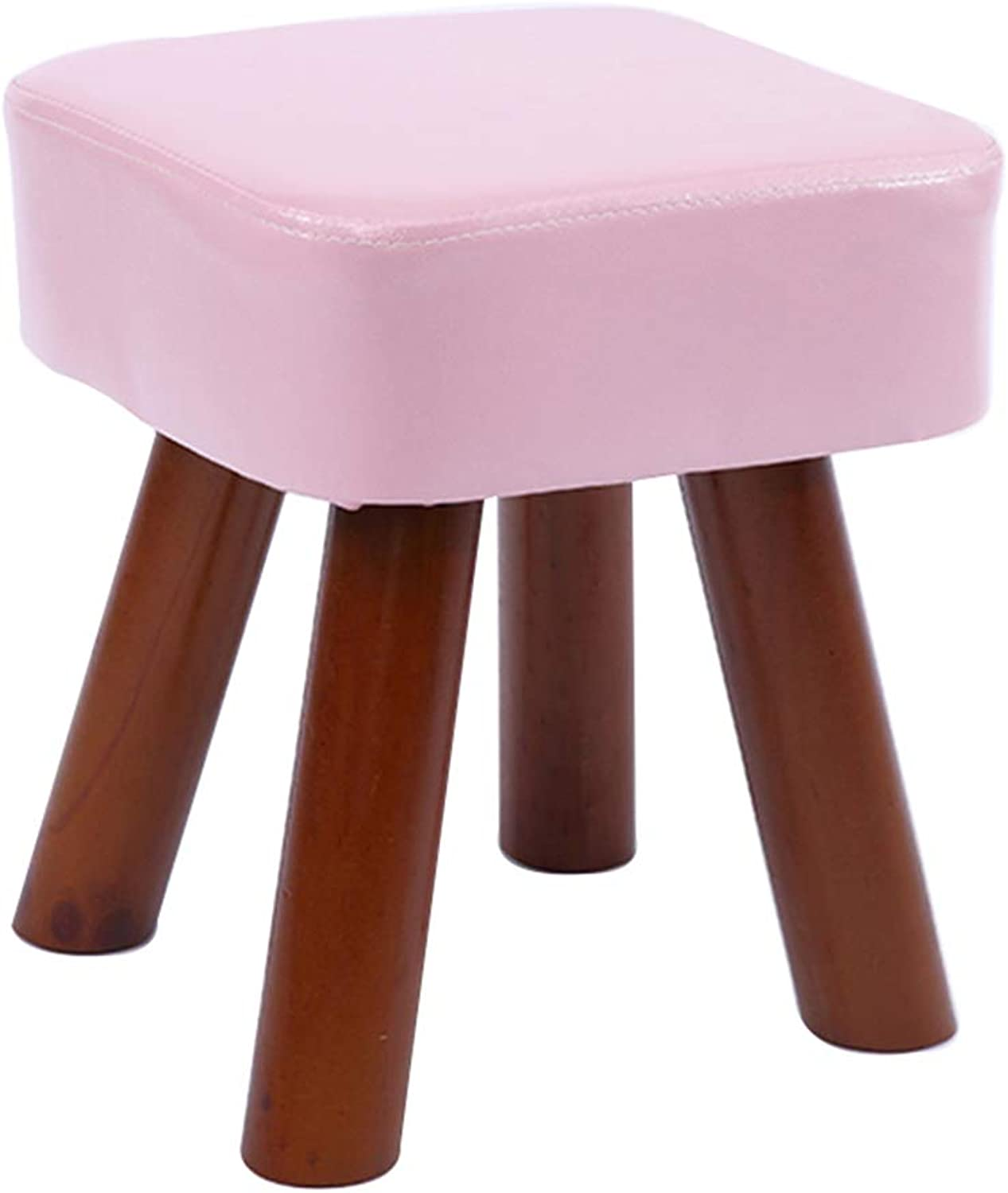 Household Step Stool,Anti-Slip Footstool,Rest Stool with Wooden Legs,Exquisite Appearance Compact Size Easy to Store,Great for Kitchen, Bathroom, Bedroom, Kids or Adults,Pink