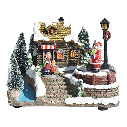 Forart Christmas Decorations Christmas Colorful Music Luminous House Snow Small House Christmas Winter Village Houses Tabletop Christmas Village Home Decoration with Gift Box