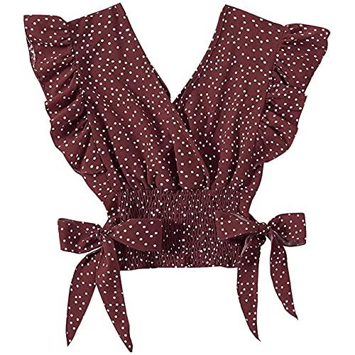 Camisa de Manga Casquillo con Volantes y Lunares con Cuello En V para Mujer Blusa sin Mangas con Dobladillo Fruncido