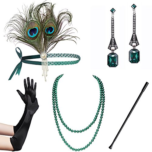 BABEYOND 1920s Flapper Set Damen Gatsby Kostüm Accessoires Set inklusive Stirnband Halskette Handschuhe Zigarettenhalter (Set-25)