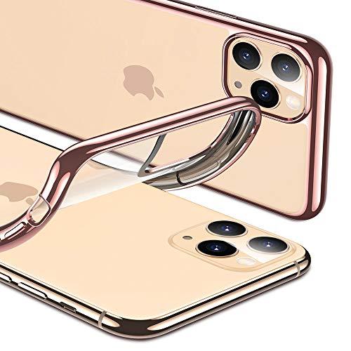 ESR Klar Silikon Entwickelt für iPhone 11 Pro Hülle - Dünne klare weiche TPU Schutzhülle - Flexible Handyhülle mit Mikrodot-Muster & Bildschirm-Kameraschutz für iPhone 11 Pro(2019)-Roségold Rahmen