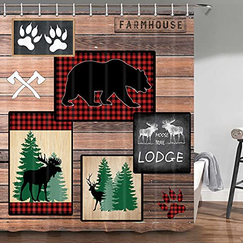 JAWO Bear Shower Curtain, Country Style Rustic Lodge Bear Moose Deer for Farmhouse Rustic Shower Curtain Sets, Fabric Moose Shower Curtain, Hooks Include, 70 in