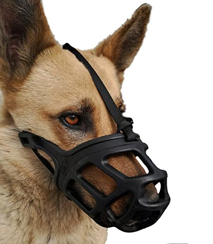 Dog Muzzle, Breathable Basket Muzzles for Small, Medium, Large and X-Large Dogs, Stop Biting, Barking and Chewing, Best for Aggressive Dogs (Large, Black)