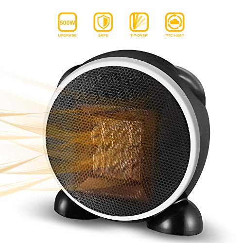 Space Heater, Fan Heater, 500W Personal Mini Space Heater Portable Electric Heaters Fan for Home and Office Indoor Use with Ceramic Heating Element & Overheat Protection (Black) Heater Portable Space