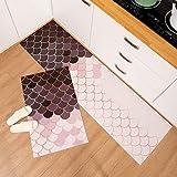 OPLJ Alfombra de cocina geométrica impermeable a prueba de aceite alfombra de cocina cocina cocina cocina baño alfombra antideslizante A8 40 x 60 cm+40 x 120 cm