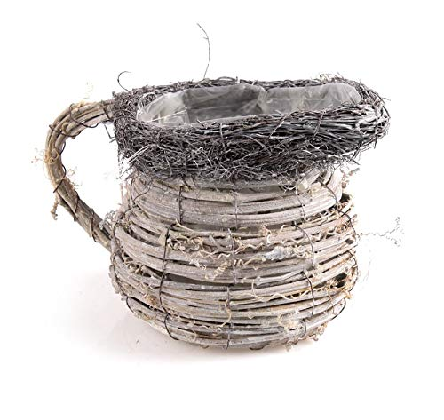 Tintours Panier en rotin pour plantes/pots de fleurs en branches de bouleaux/pot de fleurs - 21 x 13 x 13 cm