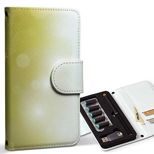 スマコレ ploom TECH プルームテック 専用 レザーケース 手帳型 タバコ ケース カバー 合皮 ケース カバー 収納 プルームケース デザイン 革 クール 星 ゴールド 緑 002181
