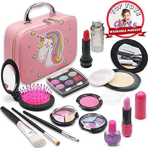 ROKKES Girls Washable Cosmetic Makeup Toy - Pretend Play Makeup for Girls , Play Makeup Kit for Toddlers , Real Makeup for Kids , Cosmetic Toys , Best Girl Gifts for 3/4/5/6/7.…