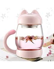 YS かわいいピンクの猫のマグ420ML(茶こし付きガラスマグカップ、蓋、) 420ミリリットル ピンク