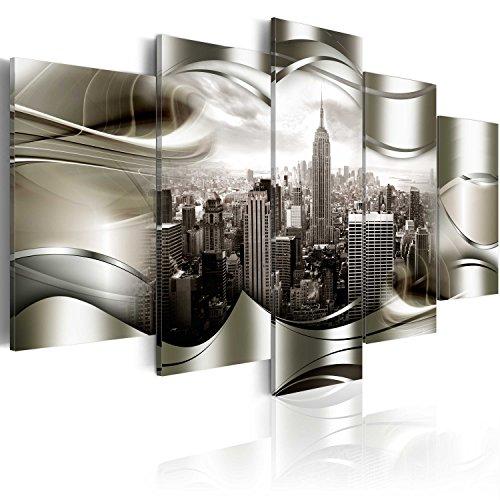 murando Cuadro en Lienzo 225x112 cm New York Impresión de 5 Piezas Material Tejido no Tejido Impresión Artística Imagen Gráfica Decoracion de Pared Ciudad Paisaje Nueva York NY d-A-0032-b-n