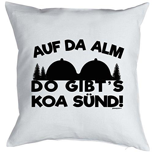 Sofa-Kissen/Deko-Kissen m. Füllung Rubrik Wandern/Bergsteigen: Auf da Alm do gibt´s koa Sünd!