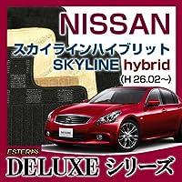 自動車販促用品専門店カーライフ (DELUXEシリーズ) ニッサン スカイラインハイブリット SKYLINE hybrid フロアマット カーマット カーペット 車マット (H26.02~,##37) バージョン:オスカー グレー