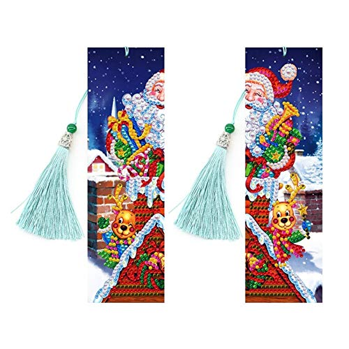 Segnalibro, 4 PCS Diamond Painting Diamond Bookmark, Vernice per Numeri Kit, Diamante Speciale Diamante Nappa segnalibro in Pelle, Kit di Pittura da Ricamo per Principianti Adulti