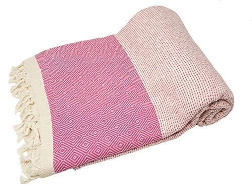 Bella Casa ELMAS Nature Tagesdecke Bettüberwurf Überwurf Plaid Baumwolle 200x250 cm (Pink)