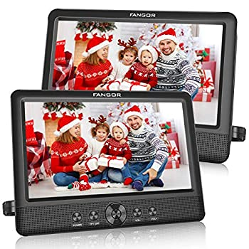 FANGOR 10.5 Dual DVD Player for Car Portable Headrest Video Players with 2 Mounting Brackets 5 Hours Rechargeable Battery Last Memory USB/SD Card Reader AV Out&in   1 Player + 1 Screen