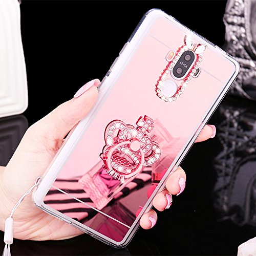 Coque Huawei P8 Lite,Etui Huawei P8 Lite,[Couronne Bague Support] Placcatura brillant strass diamant Miroir Silicone Gel TPU Souple Housse Case Etui Coque pour Huawei P8 Lite,Couronne en or rose