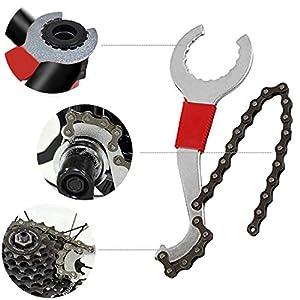 Funxim Herramienta de extracción de cassette de bicicleta, kit de reparación de bicicleta multifuncional con látigo de cadena