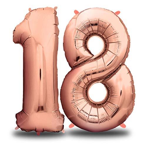 envami Globos de Cumpleãnos 18 Oro Rosas I 101 CM Globo 18 Años I Globo Numero 18 I Decoracion 18 Cumpleaños Niñas Mujer I Globos Numeros Gigantes para Fiestas I Vuelan con Helio