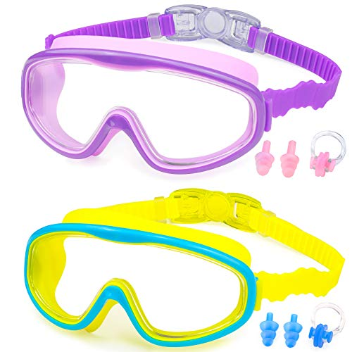 KAILIMENG Kids Swim Goggles, Clear Wide View No-Leak Anti-Fog UV Protection Swimming Glasses with Nose Clip Earplugs for Toddlers Youth Child 4-15 Years Old (Purple & Blue Yellow, 2 Pack)