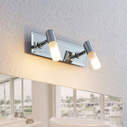 Lindby Wandleuchte, Wandlampe Bad 'Zela' (spritzwassergeschützt) (Modern) in Chrom aus Metall u.a. für Badezimmer (2 flammig, G9, A++) - Wandleuchten, Spiegelleuchte Badezimmer, Wandbeleuchtung