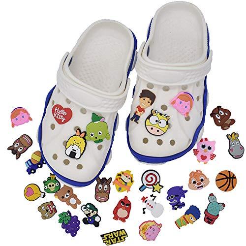 50 Piezas Adornos de Zapatos PVC, Pulsera Ajustable Fit Shoe, con 4 Adaptadores de Cuerda de Zapatos y 2 Piezas Pulsera Brazalete, para Zapatos de Croc, Regalos de Cumpleaños para Fiestas