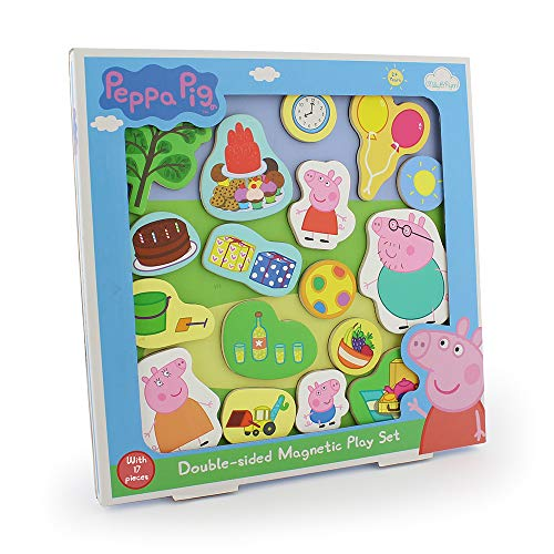 Milly & Flynn 17 Piece Peppa Pig Fun & Engaging Double Sided Magnetic Wooden Play Tray Set - Suitable For Ages 2+