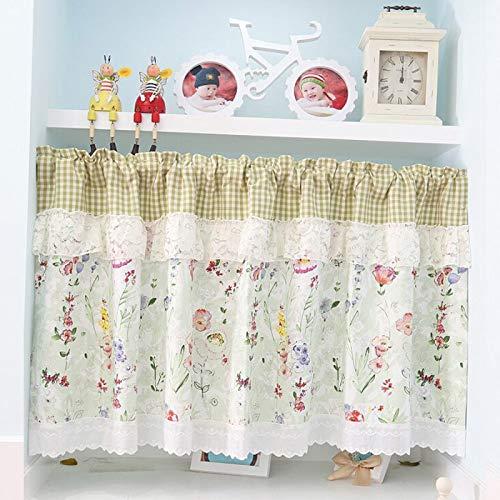 FJB Sombra Café Cortina, Tejido Crochet Corta Cortinas Suave Estampadas Plisadas Cortina Lavable Sin Agujeros Estilo Rural Textil Cocina Balcón,Yellow-W130xH80CM
