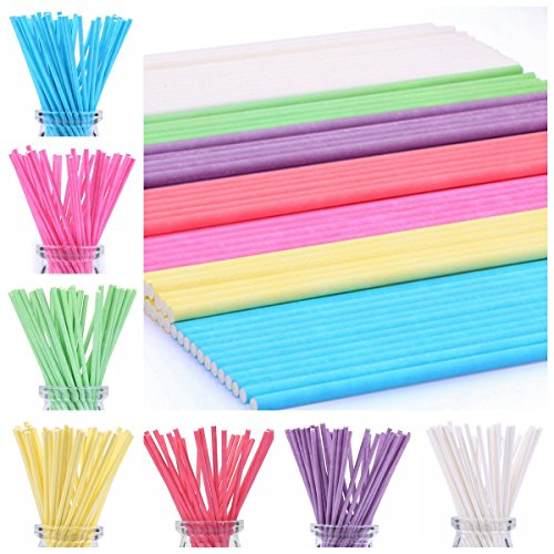 210ct 6 inch Colored Lollipop Sticks 7 Colors for Cake Pops Apple Candy (Rose-red, Blue, Yellow, Purple, Green, Watermelon Red, White)