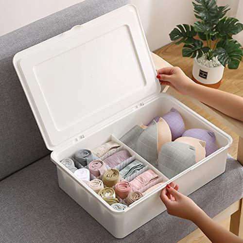 Zylxnt La Ropa Interior de la Cubierta Caja de plástico Triple, Caja de Almacenamiento de Estudiantes Sub-Rejilla con Tapa (Color : B-Gray, Size : 4.72in)